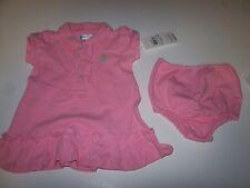 NWT Ralph Lauren polo pink 2 piece ruffle dress baby girl 3 months short sleeve