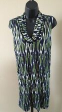 Michael Kors Women's Dress Print Green Navy Blue White A-Line sleeveless Small