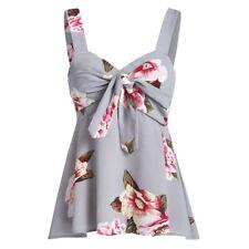 Women Casual Top Camis Bow Knot Blouse Bandage Floral Print Tank Top Cute Vest U