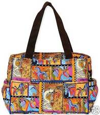 Laurel Burch Cotton Quilted Beige Brown Equestrian Horses Shoulder Tote Bag NWT