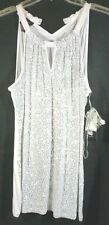 Women's INC International Concepts White & Silver Sleeveless Top, Size XL, NWT