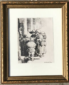 Etching Rembrandt Titled Beggars Receiving Alms at the Door of a House