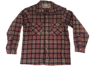 Vintage Pendleton Wool Loop Collar Flannel Plaid L/S Shirt Sz L Made In USA
