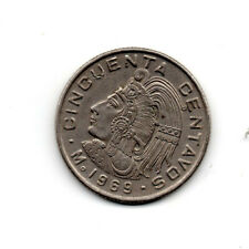 Mexico 1969, King Cuauhtemoc facing left, with feather crown, 50 cents