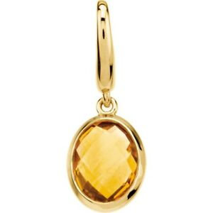 Citrine Charm Dangle Pendant Genuine 14K Yellow Gold Quality