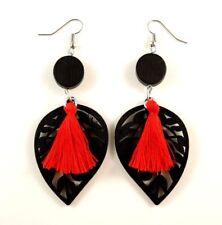 Red Cotton Tassels Lightweight Laser Cut Black Wood Dangle Earrings #874