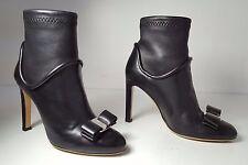 $1395 size 6 Salvatore Ferragamo Fimeny Black Leather Heel Bow Ankle Booties