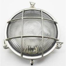 Solid Brass Small Porthole Exterior/Outside Wall Light Satin Nickel with LED