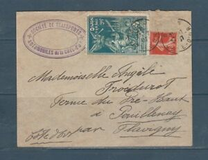 enveloppe  société de transports automobile de Cote d'Or vignette musique 1907