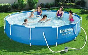 Bestway Steel Pro Frame Pool, rund 366x76 cm mit Filterpumpe Frame Pool