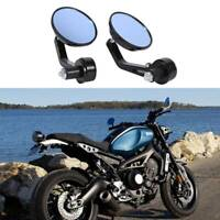 """Black Motorcycle bike 7/8"""" Bar End Rear Side View Mirrors Cafe Racer Anti-glare"""