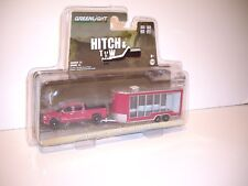 GREENLIGHT 1/64 MAROON 2016 CHEVY SILVERADO AND MAROON DISPLAY TRAILER DCP TIE