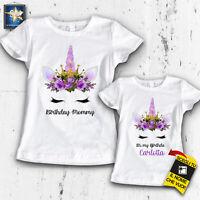 T-shirt magliette Mamma figlia compleanno unicorno personalizzata Idea Regalo