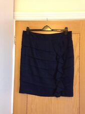 "PER UNA Women's Navy Blue Knee Length Linen Skirt Size 16 W:39"" L:24"" - NEW £38"