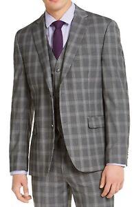 Alfani Mens Suit Jacket Gray Size 40 R Plaid Slim-Fit Stretch 2-Button $360 148