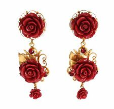 NEW DOLCE & GABBANA Earrings Red Roses Crystal Gold Leaf Drop Dangle Clip On