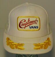 Old Vintage 1980s Compliment Vans PATCH MESH SNAPBACK TRUCKER HAT CAP HIPSTER