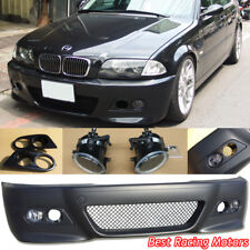 M3 Style Front Bumper + Glass Fog + Dual Hole Covers Fit BMW E46 4dr 3-Series