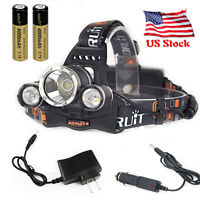 BORUiT 12000 Lumen Headlamp XM-L 3x T6 LED Headlight 18650 Battery Light Charger