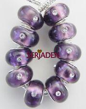 10 Purple Foil w/ Stones Bead Fit European Style Jewelry 9 * 14 & 5 mm Hole B095