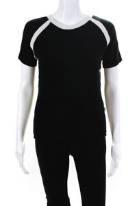 Versace Jeans Couture Womens Short Sleeve Crew Neck Knit Shirt Black Size Large