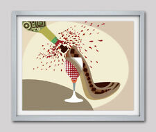 Art Pop Shoe Print Modern Giclee Woman Home Decor Wine Lover Poster Painting NEW