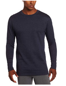 NEW Duofold Men's Mid Weight Crew Neck Thermal Sleepwear Navy Blue Large Shirt