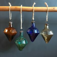 4 Recycled Glass Diamond Baubles Blue Green Amber Brown Smoke Vintage Xmas