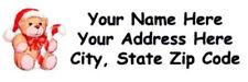 "60 Personalized Christmas-Bear  Address Labels  1"" x 2.625""  FREE USA SHIPPING"