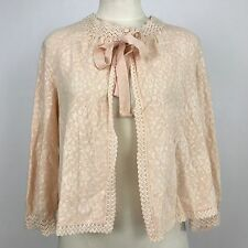 Vintage Hanro Switzerland Pink Lace Bed Jacket Wool Blend Sz 44 *4618