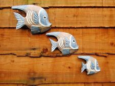 More details for hand carved made wooden angel fish set of 3 tropical wall plaque sculpture