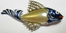 Vintage Enamel Pearl Belly Fish Brooch 1930's Figural
