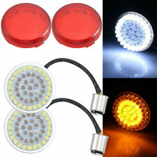 """2"""" 1157 Bullet White/Amber LED Turn Signal Inserts Lights + Red Cover For Harley"""