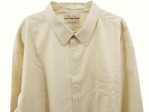 Gold Label Ivory Yellow Dress Shirt Men's Size 20 36 Big Top Roundtree Yorke New