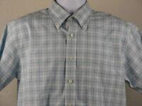 LL Bean Button Down Shirt Size M Medium Men's Plaid Blue White Short Sleeve