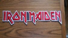 IRON MAIDEN,SEW ON RED WITH WHITE EDGE EMBROIDERED LARGE BACK PATCH