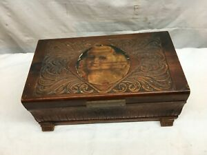 Cedar Wood Hope Treasure Jewelry Stash Box  Lithograph Flapper Girl  Mirror