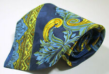 Vintage Versace Paisley Pattern Blue Color Silk Necktie Tie Made In Italy