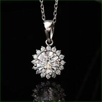 1.75 Ct Round Moissanite 3-Stone Charm Pendant Necklace 14k Rose Gold GP Jewelry