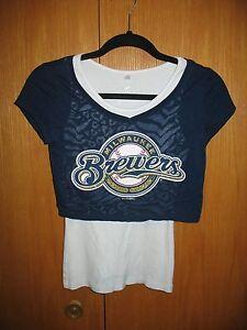 MILWAUKEE BREWERS Crop Shirt Sz 12 Girls Short Sleeve Layered