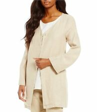 NWT Preston & York Tan Linen Long Meredith Jacket Single Snap Closure Size16