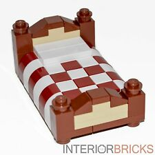 LEGO Furniture: Full Size Bed - Red & White Bedding   [custom set,house,minifig]