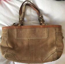 Coach Brown Suede Brown Trim Small Tote Handbag