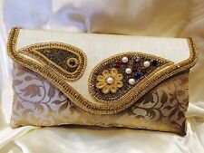 Cream Gold Handbag Clutch Wallet Bollywood Indian Sari Dress Purse Art Silk