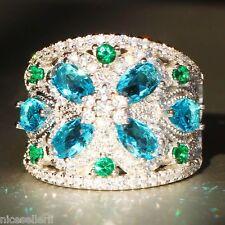 NO.585 Blue Sapphire Birthstone 925 Silver Filled Wedding Bridal Ring Set Size9