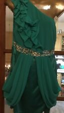 Lipsy Peacock Green Dress Party Prom Evening 12 Satin Chiffon One Shoulder
