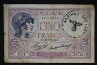 France Germany occupation banknote WW2/WWII