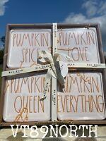 Rae Dunn Pumpkin Spice, Love, Queen & Everything Ceramic Coaster Set Of 4 NIB