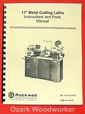 """ROCKWELL 11"""" Cabinet Metal Lathe Operating/Parts Manual 0590"""