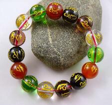14mm Five-elements crystal Bead carve Mantra om mani padme hum Amulet Bracelet